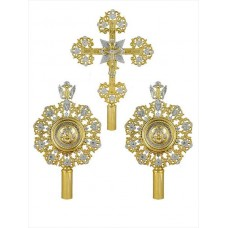 Brass Processional Set of Liturgical Fans (Ripidions) with Silvery Accents