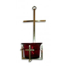 Brass Hanging Vigil Lamp with Crosses