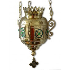Brass Hanging Vigil Lamp with Ornaments (Large)