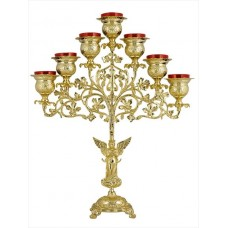 Gold-Plated Freestanding Seven-Branched Oil Candelabrum