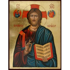 Hand-Painted Icon of Christ Pantocrator with Angels