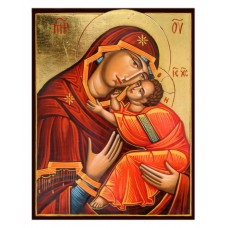 Hand-Painted Icon of Virgin Eleusa with Child