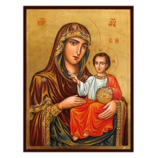 Hand-Painted Icon of Mother of God (Panagia Hodegetria from Jerusalem)