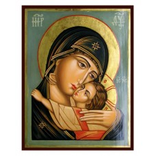 Hand-Painted Icon of Virgin Eleusa with Child (by Rublev)