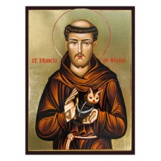 Hand-Painted Icon of Saint Francis of Assisi