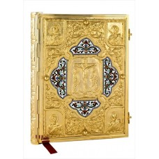 Gold-Plated Gospel Cover Decorated with Enamel and Relief Engravings
