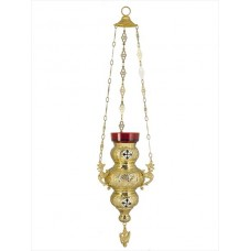 Gold-Plated Hanging Vigil Lamp with Enamel Ornaments