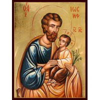 Hand-Painted Icon of Saint Joseph