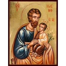 Hand-Painted Icon of Saint Joseph