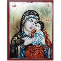Hand-Painted Icon of Virgin Eleousa with Child