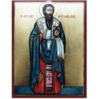 Hand-Painted Icon of Saint Basil the Great (St. Basilius)