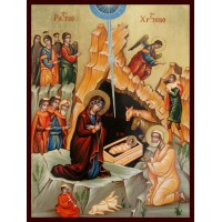 Hand-Painted Icon of Nativity of our Lord and Savior Jesus Christ
