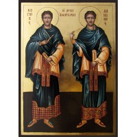 Hand-Painted Icon of St. St. Cosmas and Damian