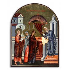 Hand-Painted Icon of Presentation in the Temple (Receiving the Lord)