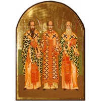 Hand-Painted Icon of The Three Hierarchs (SS. Basil the Great, Gregory the Theologian, and John Chrysostom)