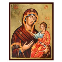 Hand-Painted Icon of Mother of God (Panagia Hodegetria)