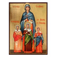 Hand-Painted Icon of Holy Martyrs Saint Sophia and her Daughters Faith, Hope and Love