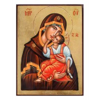 Hand-Painted Icon of Virgin Eleousa (Our Lady of Tenderness)