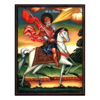 Hand-Painted Icon of Saint Minas on Horseback