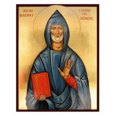 Hand-Painted Icon of Saint Benedict