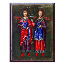 Hand-Painted Icon of Saint Theodore Tyron and Saint Theodore Stratelates