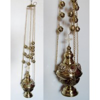 Brass Censer with Red Beads