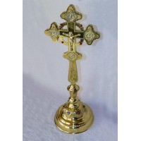 Brass Altar Set of Blessing Cross  and Two Detachable Stands