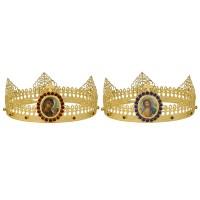 Gold-Plated Set of Wedding Crowns with Icons