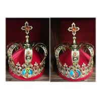 Brass Set of Russian-Style Wedding Crowns with Icons