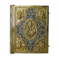 Gold-Plated Gospel Book Cover Decorated with Enamel and Relief Engravings