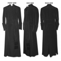 Anglican-Style Double-Breasted Cassock with Band Cincture