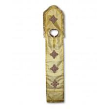 Metallic-Brocade Coptic-Style Priestly Epitrachelion (with Yoke & Embroidered Collar)