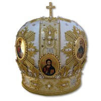 Bishop's Miter with Five Hand-Painted Icons