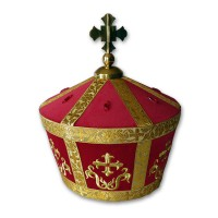Velvet Armenian-Style Bishop's Mitra (Crown)